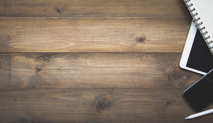 Table top view of wood texture over white light natural color background.