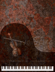 Grand Piano and Violin Grunge Background illustration
