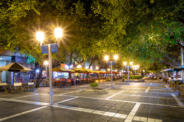 Paseo Sarmiento pedestrian street at night - Mendoza, Argentina