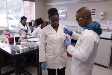 Laboratory technicians analyzing blood sample