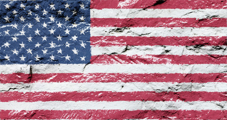 Flag of the United States on the grunge concrete wall