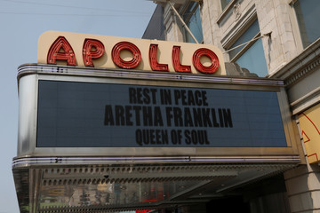 A memorial tribute is posted on the Apollo Theater marquee in memory of singer Aretha Franklin in Manhattan, New York