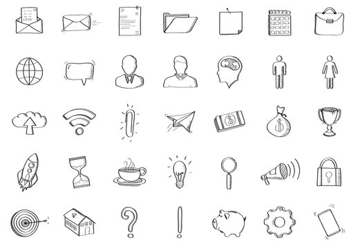 Hand-Drawn Icons and Business Graphs Set