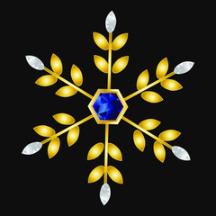 Gold and crystal snowflake with sapphire