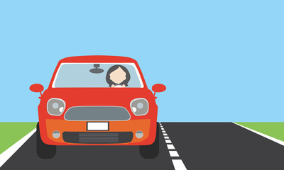 Young woman driving a car on a road or highway with lawn, blue sky and space for text - flat design