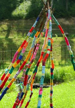 Yarn bomb tree branches