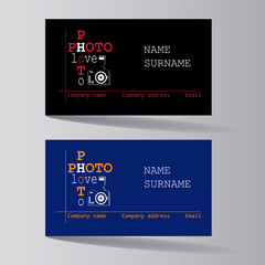 Business cards are black and blue. Set. Design of business cards for photo studio, atelier.