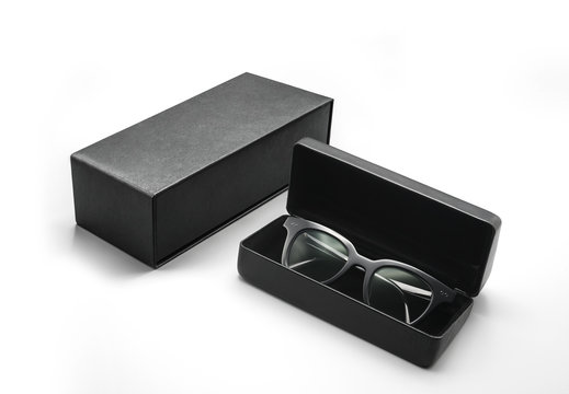 Sunglasses in a case, leather box packaging white isolated background
