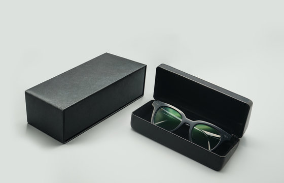 sunglasses in a case, leather box packaging