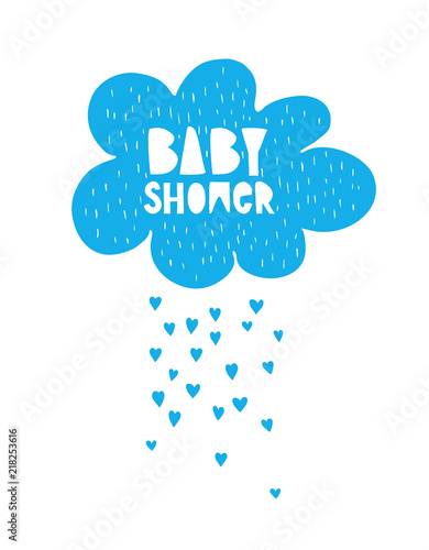 Cute Hand Drawn Baby Shower Vector Card Blue Cloud And Rain Of
