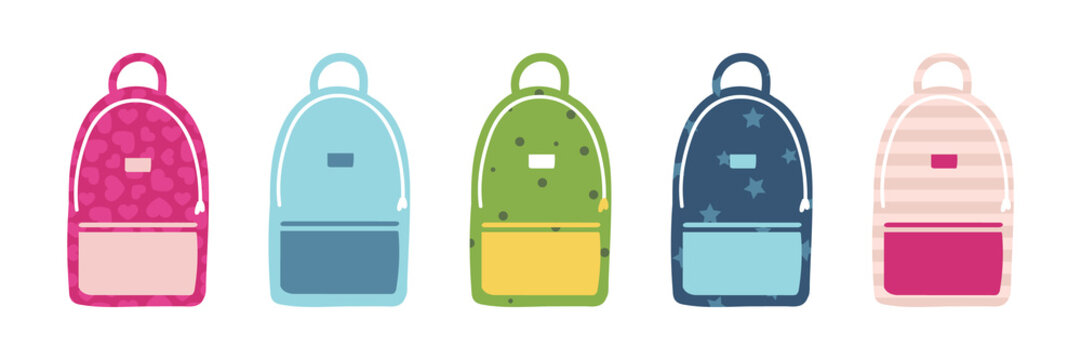 Set, collection of cute and colorful cartoon style school bags for back to school design.