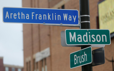 A street sign named after singer Aretha Franklin is seen in downtown Detroit,