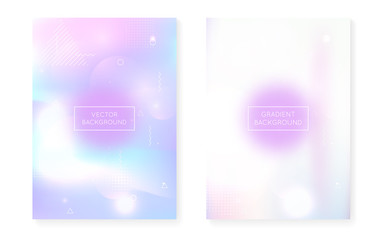 Memphis gradient set with liquid shapes. Dynamic holographic fluid with bauhaus background. Graphic template for flyer, ui, magazine, poster, banner and app. Colorful memphis gradient set.