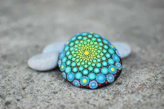 Dot Painted Hypnotizing Meditation Mandala Beach Stone