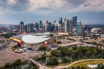 Aerial View of landmark buildings in Downtown Calgary, Alberta, Canada.