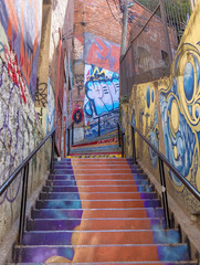 Graffiti Covered Stairs, Valparaiso, Chile