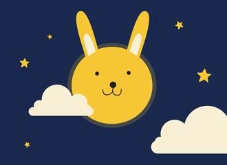 cute yellow bunny rabbit moon