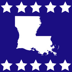 map of Louisiana on the American flag