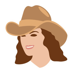 girl in a cowboy hat vector illustration flat