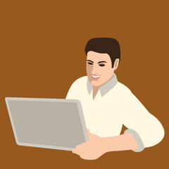 A man with a laptop in his hand  vector illustration flat