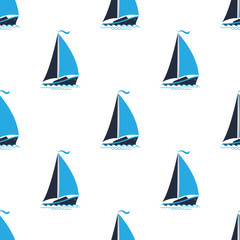 Sea pattern with ships. Seamless background in a marine style.