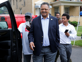 Reverend Jesse Jackson stands outside the New Bethel Baptist church following the death of singer Aretha Franklin in Detroit