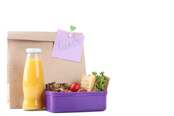 School lunch with paper bag on white background