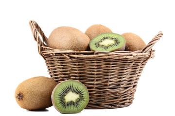 Kiwi fruits in basket isolated on white background