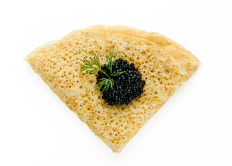 One pancake with black caviar isolated on white background