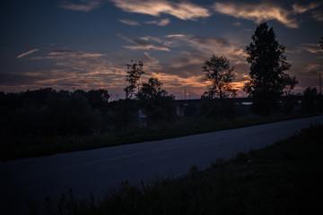 Sunset near Vienna at Danube