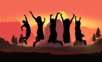 guys jumping at sunset