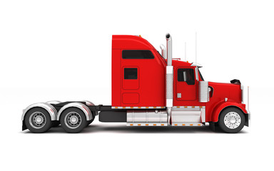 Logistics concept. American red Freightliner cargo truck without a container moving from left to right isolated on white background. Left side view. 3D illustration