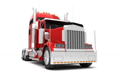Logistics concept. American red Freightliner cargo truck without a container moving from left to right isolated on white background. Front perspective view. 3D illustration