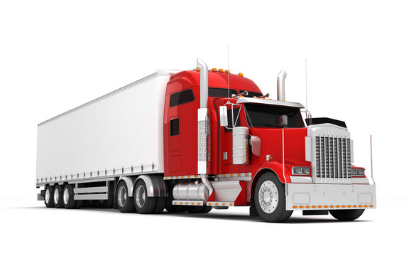 Logistics concept. American red Freightliner cargo truck with container moving left to right isolated on white background. Perspective. front side view. 3D illustration