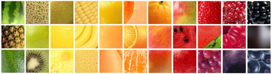 Gradiente formado pelas cores de diferentes frutas