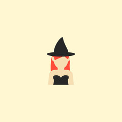 Witch icon flat element. Vector illustration of witch icon flat isolated on clean background for your web mobile app logo design.