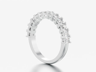 3D illustration white gold or silver eternity band diamond ring