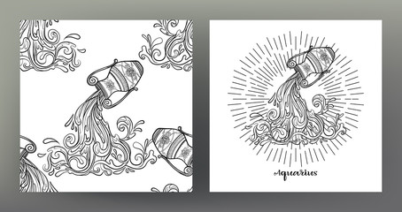 Aquarius. Set of Zodiac sign illustration on the sacred geometry symbol pattern and  seamless pattern with this sign. Black-and-white graphics. Stock vectorillustration.