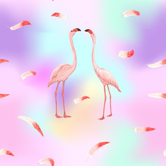 Printed roller blinds Flamingo Seamless pattern, background. with pink flamingos and feathers on In light ultra violet pastel colors on mesh pink, blue background. Stock vector illustration.