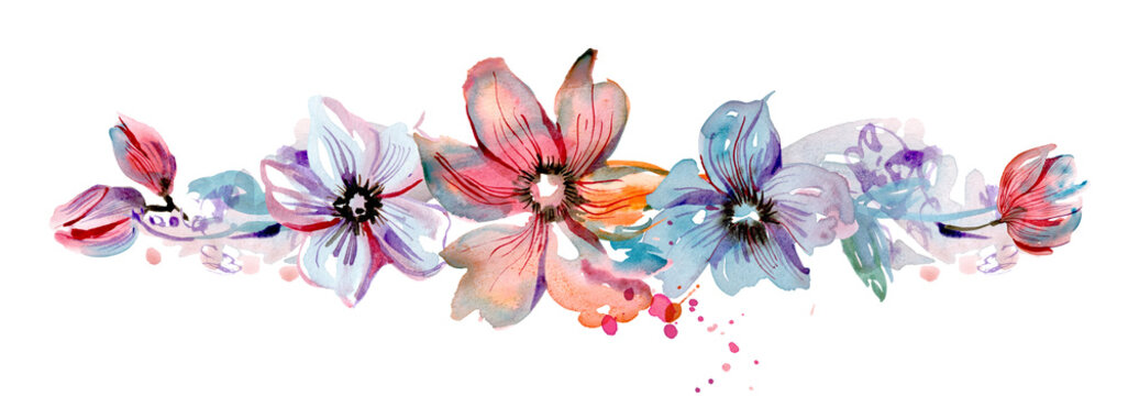 Cute watercolor hand painted flower border. Invitation. Wedding card. Birthday card