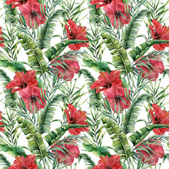 Watercolor big seamless pattern with banana leaves and hybiscus. Hand painted greenery tropical palm brunch and red flowers on white background. Botanical illustration for design, print or background.