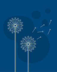Silhouette of a dandelion with flying seeds on a blue background.