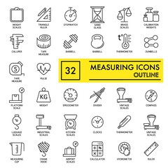 Measuring web icon set. outline icon set, vector, thin line vector icons collection on white background. eps 10