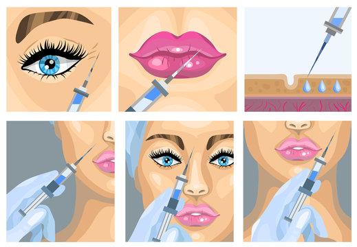 Botox injection cosmetic procedure set. Vector illustration