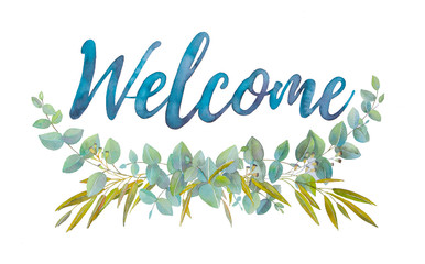 Welcome! (eucalyptus with lettering)   Wall mural