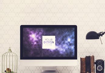 Monitor on Desk Mockup