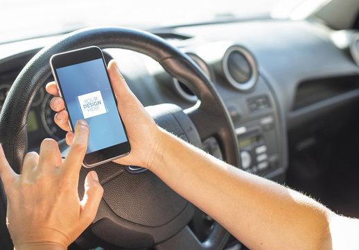Smartphone in Car Mockup