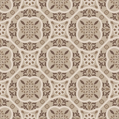 Floor tiles ornament brown vector pattern print. Neutral colors geometric hexagonal seamless backdrop.