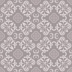 Floor tiles ornament gray vector pattern print. Neutral colors geometric floral hexagonal seamless backdrop.