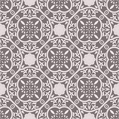 Floor tiles ornament gray vector pattern print. Neutral colors geometric floral hexagonal seamless backdrop.
